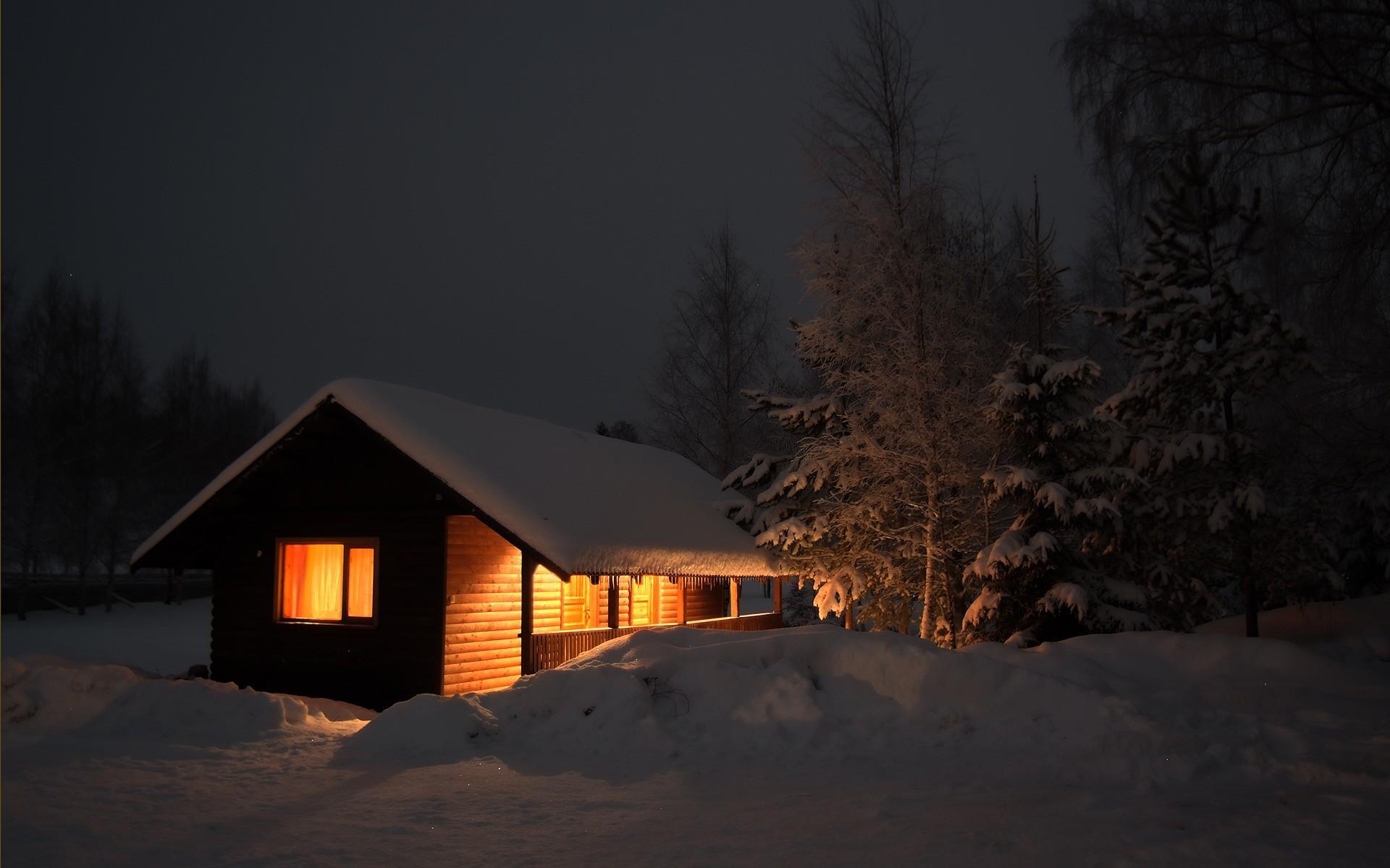 Snowy Log Cabin In Winter